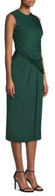 Jason Wu Women's Crepe Jersey Draped Midi Dress - Peacock Teal - Size 10