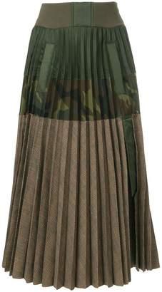 Sacai contrast panel pleated skirt