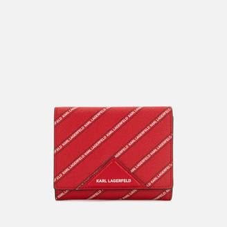 Karl Lagerfeld Women's K/Stripe Logo Medium Wallet - Red