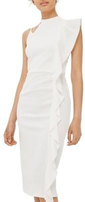 Women's Topshop Asymmetrical Ruffle Midi Dress $95 thestylecure.com