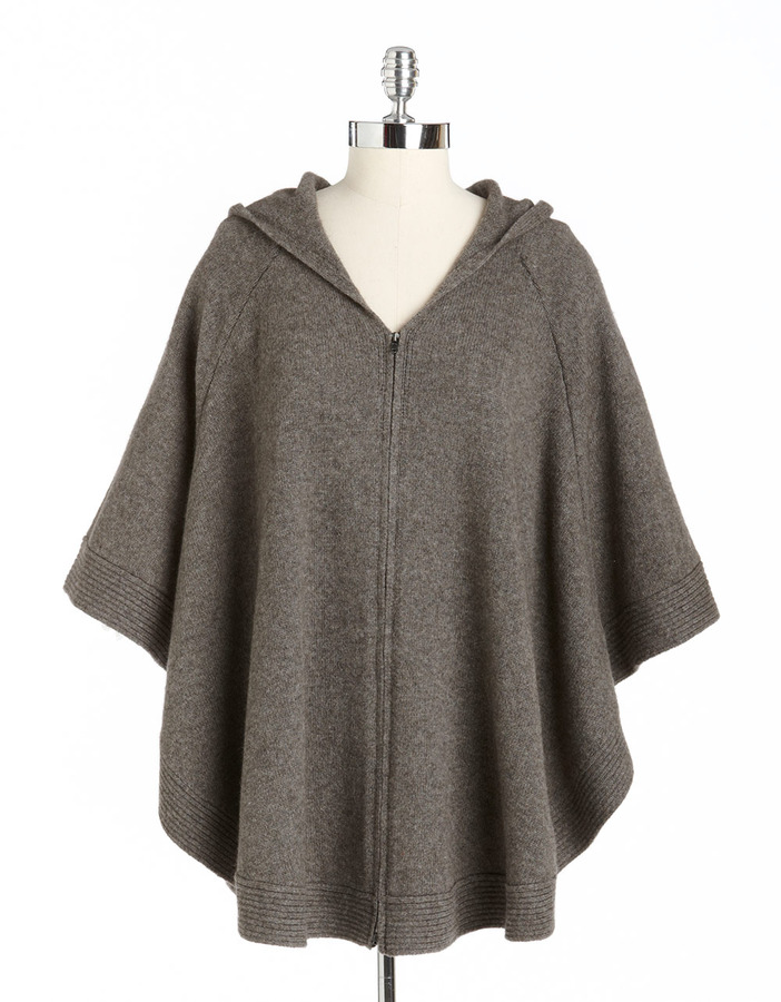 Eileen Fisher Plus-Size Hooded Knit Poncho