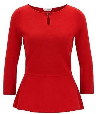 HUGO BOSS Slim-fit peplum sweater in mercerised virgin wool
