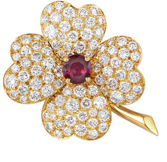 Van Cleef & Arpels Heritage  18K 5.25 Ct. Tw. Diamond & Ruby Brooch
