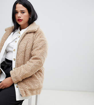 New Look Plus Curve teddy faux fur bomber in oatmeal