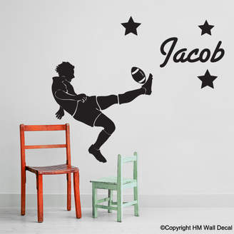 H&M Wall Decal Personalised Name and Football Player Wall Sticker