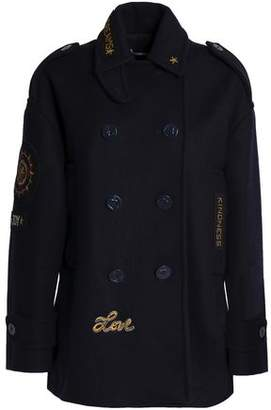 RED Valentino Double-Breasted Appliquéd Wool-Blend Felt Coat