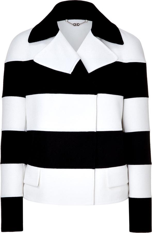 Salvatore Ferragamo Ivory and Black Striped Jacket