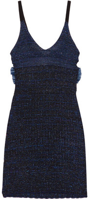 KENZO - Cutout Metallic Knitted Mini Dress - Midnight blue $485 thestylecure.com