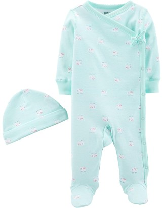 Carter's Baby Girl Side Snap Sleep & Play Hat Set