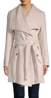 London Fog THE COAT EDIT Wool-Blend Envelope Collar Belted Coat