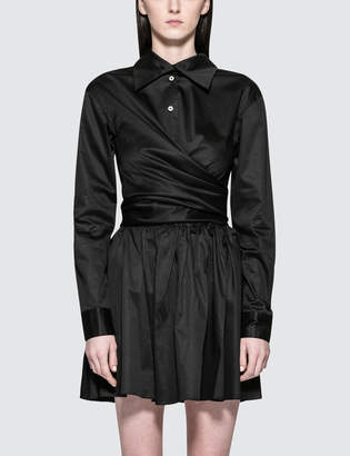 Opening Ceremony Sateen Wrap Front Dress
