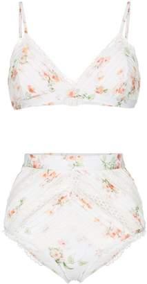 Zimmermann Heathers floral print lace detail bikini set