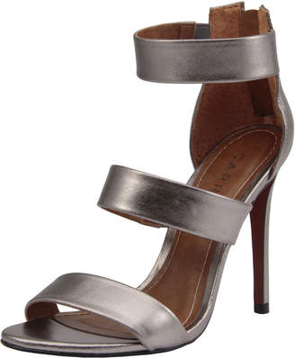 Carrano Daisy Metallic Leather Sandals, Pewter
