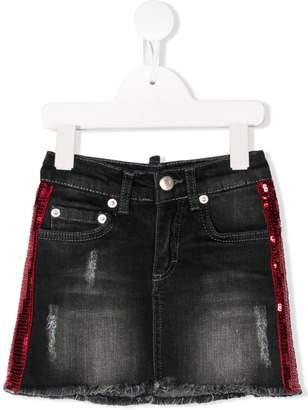 My Brand Kids sequinned stripe denim skirt