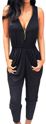 Bling Stars Womens Jumpsuit Chiffon V neck Backless Zip Up Jumpsuit Romper Playsuit