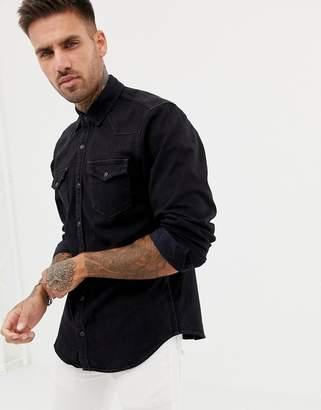 Pull&Bear denim western style shirt in black