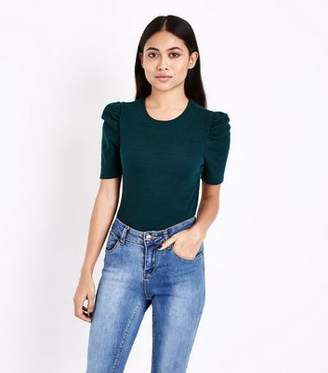 New Look Petite Dark Green Puff Sleeve Ribbed T-Shirt