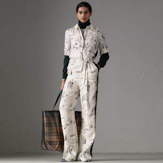 Burberry Landmark Print Silk Jumpsuit , Size: 14, White