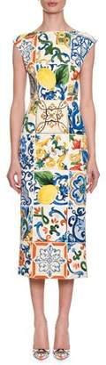 Dolce & Gabbana Cap-Sleeve Lemon Tile-Print Silk Charmeuse Sheath Midi Dress