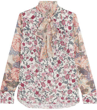 See by Chloé - Pussy-bow Floral-print Chiffon And Silk-georgette Blouse - Blush $395 thestylecure.com