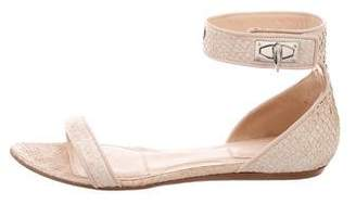 Givenchy Shark Lock Snakeskin Sandals