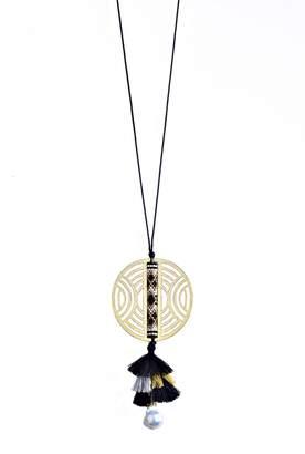 Mishky Rayo Beaded Tassel & 12mm Swarovski Pearl Openwork Pendant Necklace