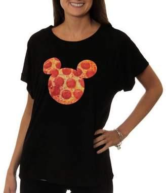 Disney Women's Mickey Mouse Pizza Sillohuette Graphic Hi-Low T-Shirt