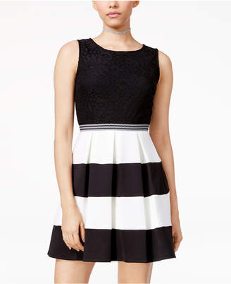 Speechless Juniors' Lace Colorblocked Fit & Flare Dress, A Macy Exclusive