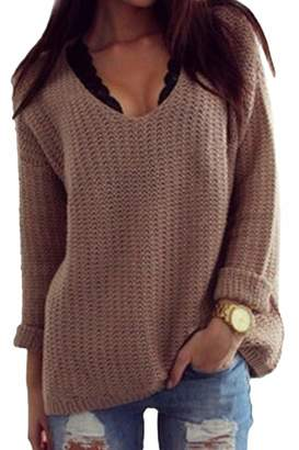 a57216c288f7 Fasumava Womens Knit Pullover Sweater Winter Casual V-Neck Long Sleeve  Loose Top M