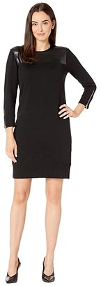 MICHAEL Michael Kors 3/4 Sleeve Leather Front Dress