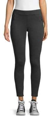 Matty M Solid Zip-Front Leggings
