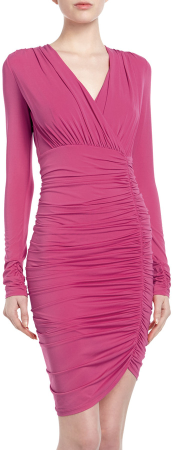BCBGMAXAZRIA Long-Sleeve Ruched Wrap Cocktail Dress, Begonia
