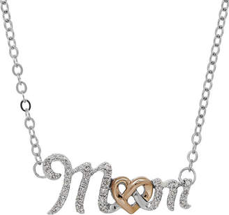 FINE JEWELRY 1/7 CT. T.W. Diamond10K Rose Gold and Sterling Silver Mom Pendant Necklace
