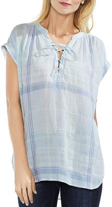Vince Camuto Crinkled Plaid Lace-Up Top
