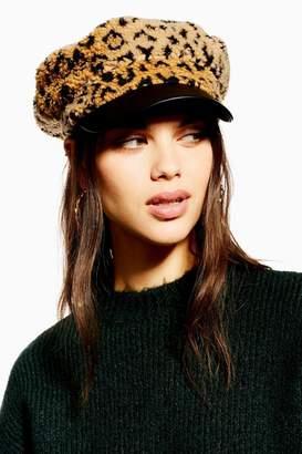 Topshop Leopard Print Borg Baker Boy Hat