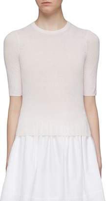 Vince Broomstick pleated knit mock neck top