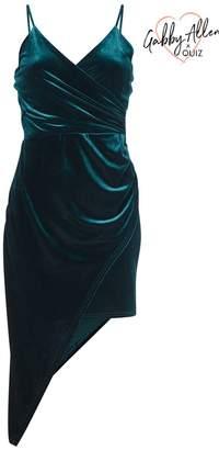 Quiz Bottle Green Velvet Wrap Front Bodycon Dress