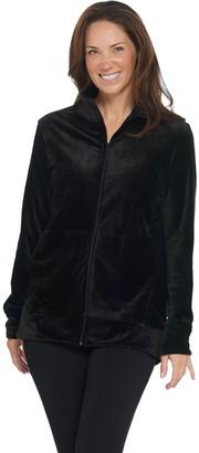 Cuddl Duds Double Plush Velour Mock Neck Zip-Up Jacket