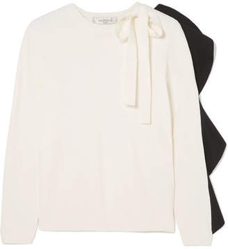 Valentino Bow-detailed Ruffled Knitted Sweater - Black