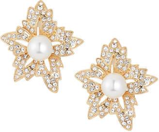 Kenneth Jay Lane Crystal & Pearly Flower Stud Earring