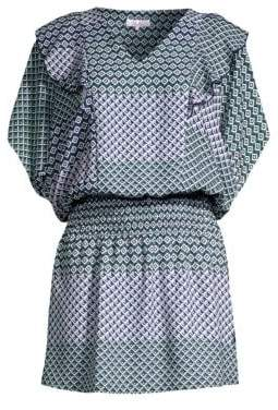 Parker Luisa Geo Print Ruched Dress