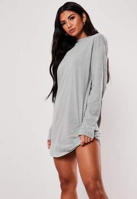 Missguided Gray Long Sleeve T-Shirt Dress
