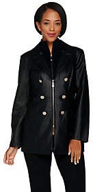 Dennis Basso Faux Leather Jacket with RemovableKnit Collar