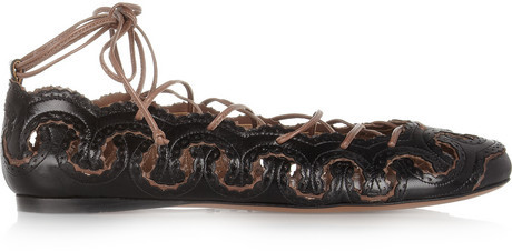 Alaia Lace-up leather ballet flats