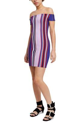 Opening Ceremony Striped Off-The-Shoulder Dress
