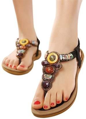 27448b360a42 Jeff Tribble Size 36-42 Women Gemstone Beaded Slippers Summer Beach Flip  Flops Flat Sandals