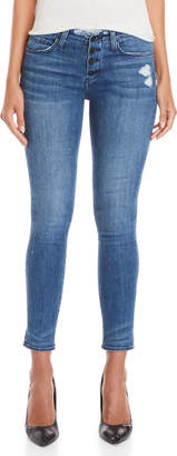 Flying Monkey Button Front Distressed Skinny Jeans