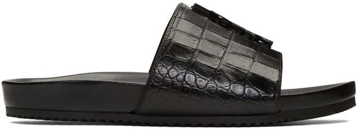 Saint Laurent Black Croc-Embossed Joan Beach Slip-On Sandals