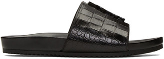 Saint Laurent Black Croc-Embossed Joan Beach Slip-On Sandals $695 thestylecure.com