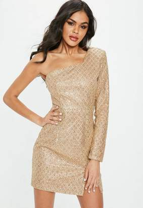 Missguided Gold One Shoulder Glitter Hem Bodycon Dress